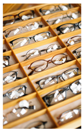 drawer of eyeglasses